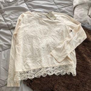 NWT G.H. Bass & Co. | Lace Cream Long Sleeve Shirt